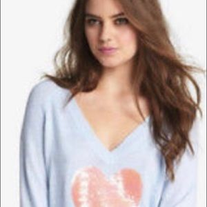 NWT WILDFOX White Label Happy heart Angora Sequin